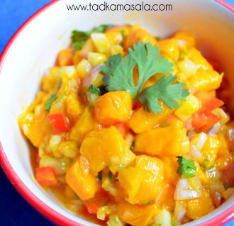 Refreshing summer salad with Alphonso, second helpings guaranteed - Mango Salsa @ tadkamasala.com