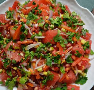 Refreshing watermelon salad with lemon-honey vinaigrette @ tadkamasala.com.
